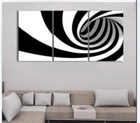 Modern Abstract Art Oil Painting on Canvas White Black Whirlpool Hand Painted 3 Panel Wall Art Home Decor quadro Group Buying