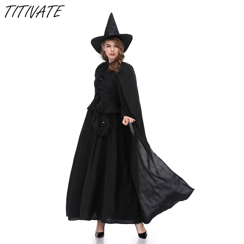TITIVATE M-XL Size Black Magic Witch Costume Halloween Carnival Party Cosplay Costumes Long Sleeves Holiday Women Dress