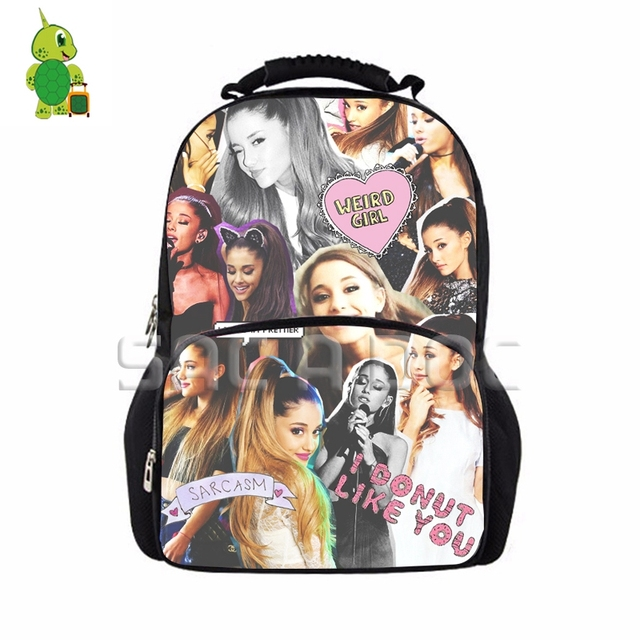 c5183e861355ef Famous Star Ariana Grande Collages School Backpack Women Men Large Laptop  Bags for Teenagers Fans Daily