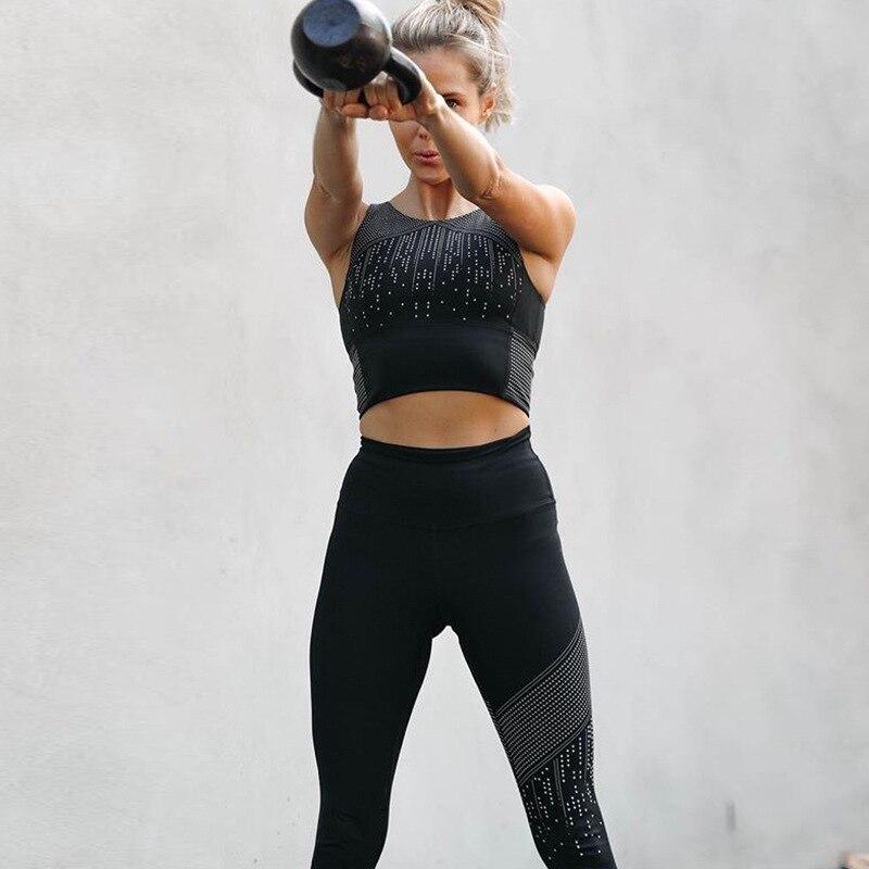2018 Nouveau 3d Impression Offset Météore Douche Femmes Survêtement Sexy Slim Fitness Haut Court Taille Haute élastique Pantalon D'entraînement Femmes Costume Ensemble