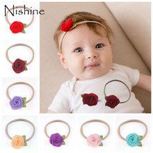 NISHINE Fashion Handmade Felt Rose Flower Baby Headband Khaki Nylon Leaf Head Band Newborn Headwear Photography Props