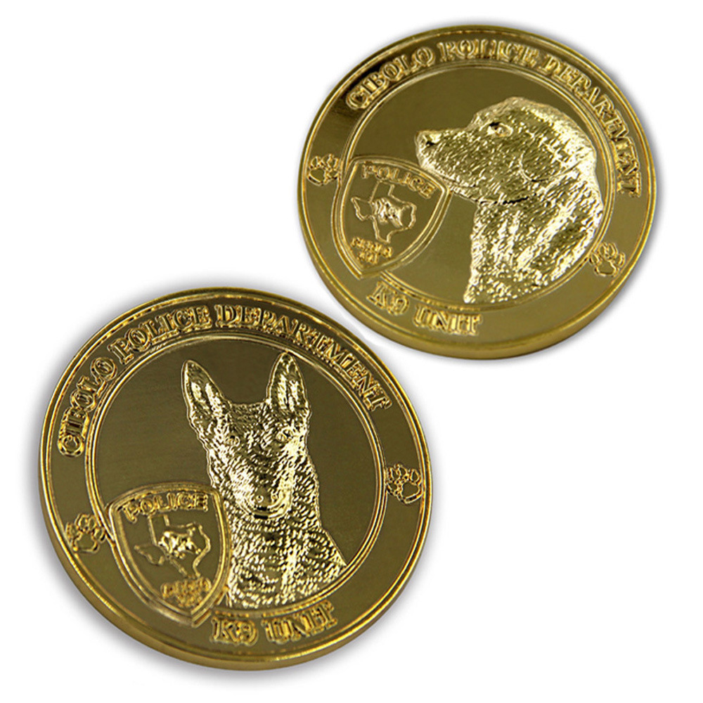 Customized Dog Logo coins cheap OEM  Metal 3D Military Gold Coin