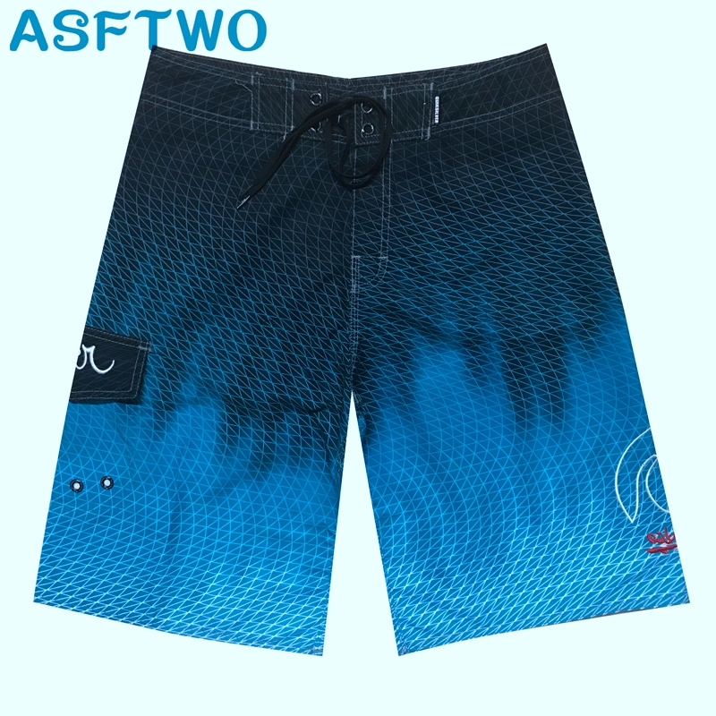 ASFTWO Mens Bermuda Printed Beach   Shorts   Quick Dry Polyester Surf   Shorts   Blue   Shorts   Large Size XL XXL