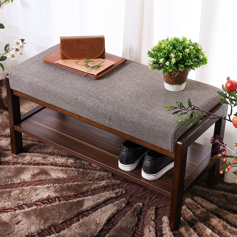 Upholstered Shoe Bench With Storage Great For Entryway or Closet, Solid Wood Shoe Bench Ottoman With Padded Seat For Comfortable