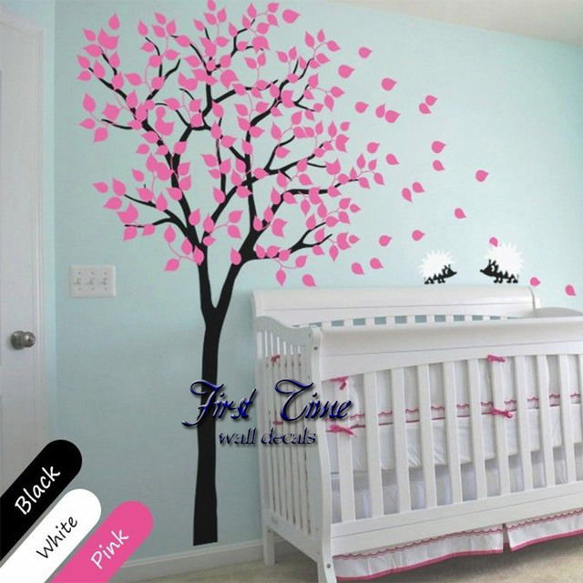 Huge tree hedgehog wall sticker nursery wall art baby children kids room wall decal personality wall