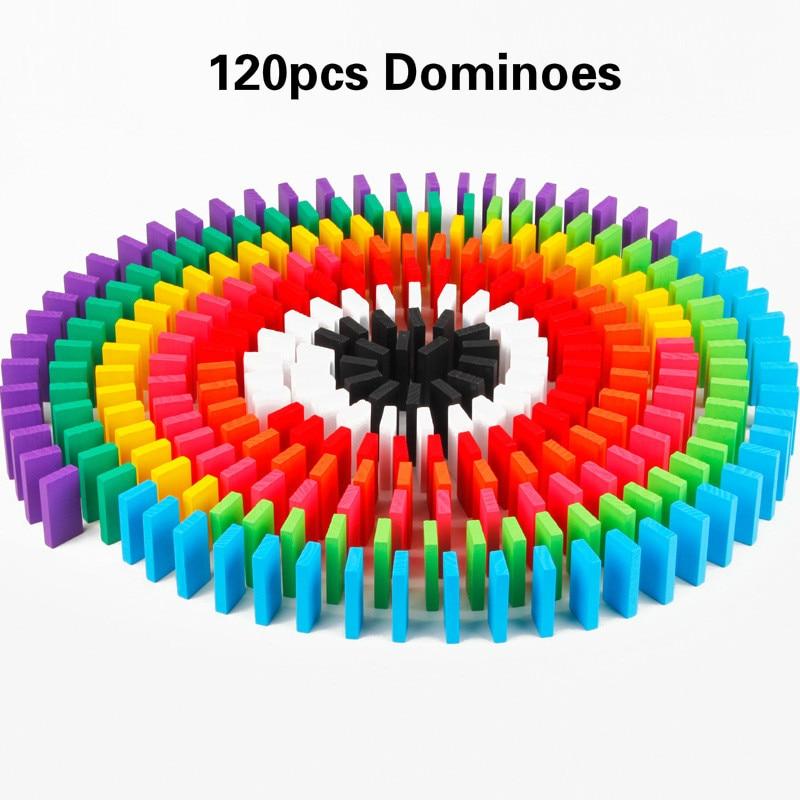 Деревянные цветные домино аксессуары для настольной игры домино блоки Радужный пазл домино Монтессори Развивающие игрушки для мальчиков - Цвет: 120pcs dominoes