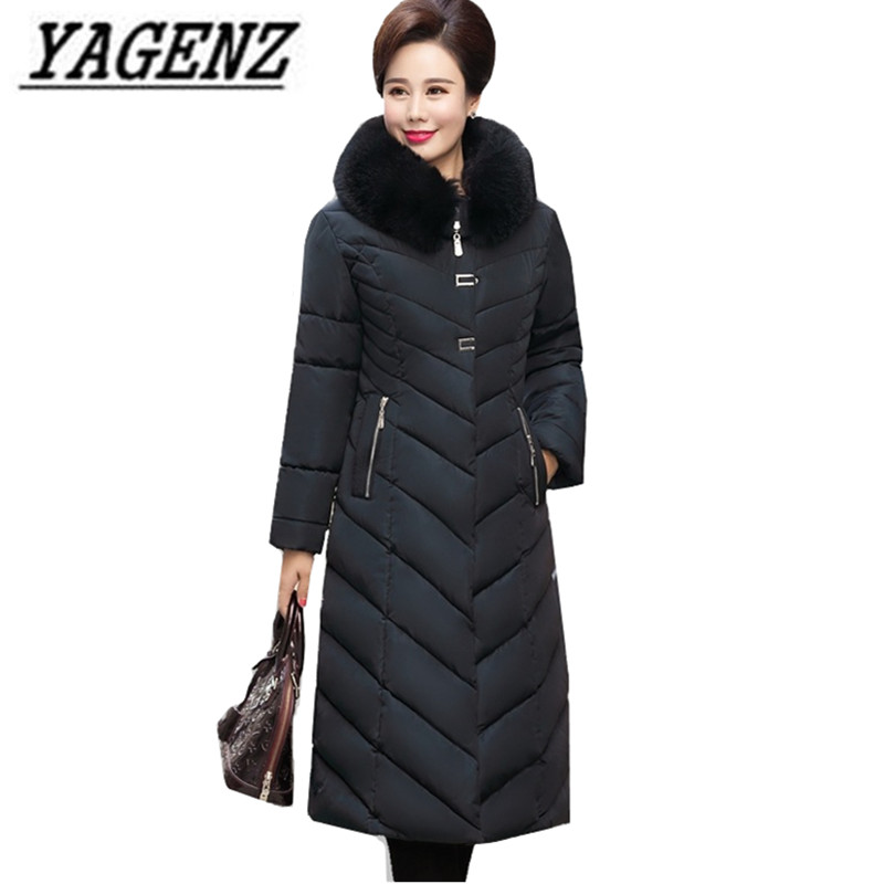 Middle aged Women Winter Hooded Jacket Parka Long Outerwear Large size Loose Windproof Down cotton Jacket