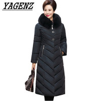 Middle aged Women Winter Hooded Jacket Parka Long Outerwear Large size Loose Windproof Down cotton Jacket Warm Thick Coats 5XL