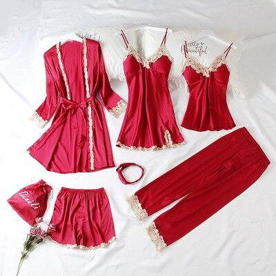 Daeyard Fashion Women's 7 Pieces   Pajamas     Sets   Silk Embroideryed   Pajamas   Women Sexy Lace Sleepwear   Sets   Spring Summer Homewear