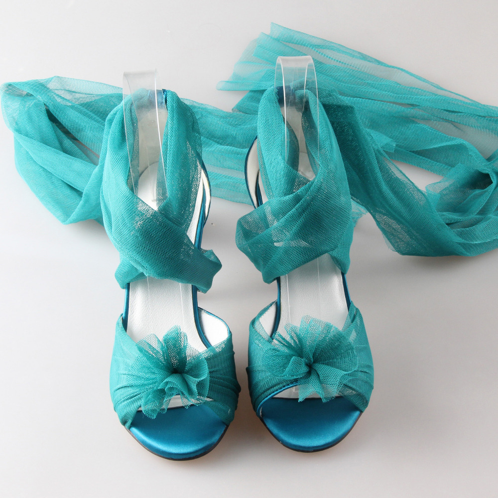 Creativesugar Handmade teal peacock blue long tulle bridal shoes soft gauze  leg strap forest fairy tale wedding party lady pumps-in Women s Pumps from  Shoes ... 2f8c9c55384f