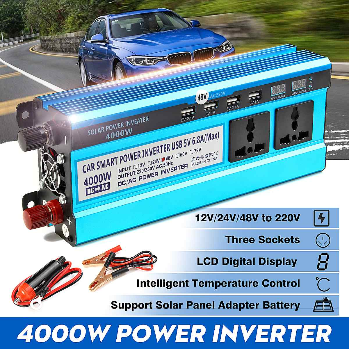 Image 2 - Solar Inverter DC 12V 24V 48V to AC 220V 3000W 4000W 5000W Inverter Voltage Transformer Converter 4 USB LED Display for Car Home-in Inverters & Converters from Home Improvement