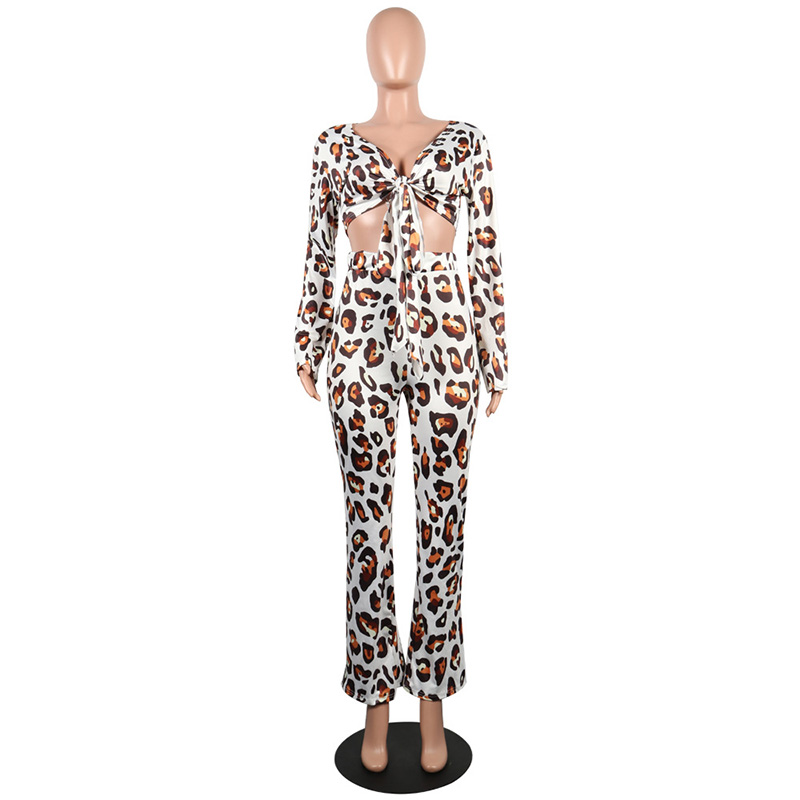 Kricesseen Sexy Leopard Print Two Piece Set Women Bow Tie Long Sleeve Crop  Top And Bodycon Flare Pant Autumn Outfits Tracksuits-in Women s Sets from  Women s ... 0957d3331