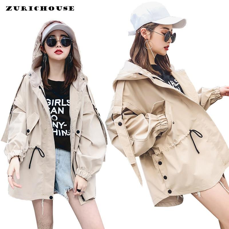 Casual Windbreaker   Jacket   Women Harajuku Spring Hooded Coat With Adjustable Lace Up 2019 High Quality Women Cotton   Basic     Jackets