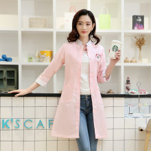 2018 new style Korean doctors white coat sleeve clothing elegant fashion female nurse, beauty salon overalls(China)