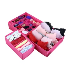 3PCS Oxford cloth Design Home Folding Storage Box For Underwear Sock Bra Ties Organizer Drawer Divider Container Household Boxes