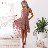 2018 New Summer Girl Short Front Long Back Casual Flower Embroidery Dress V Neck Elegant Pink Lace Dress Women Party Dress