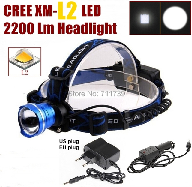 AloneFire HP87 Cree XM-L2 LED 2200LM CREE led Zoom Headlight Headlamp cree light +AC Charger/Car charger for 1/2x18650 battery
