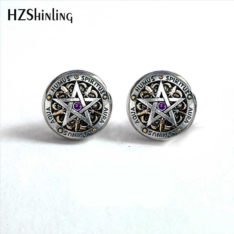 NES-0032  Wiccan Ear Nail Magick Wicca Pentagram Ear Studs Occult Stud Earrings Jewelry Glass Cabochon Earrings HZ4