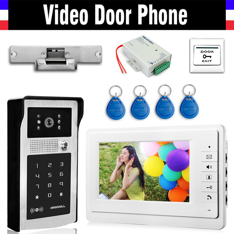 7 Inch Wired Video Door Phone Doorbell Intercom System Electric Door Strike Lock RFID Keyfobs Power Exit Video interphone kit7 Inch Wired Video Door Phone Doorbell Intercom System Electric Door Strike Lock RFID Keyfobs Power Exit Video interphone kit