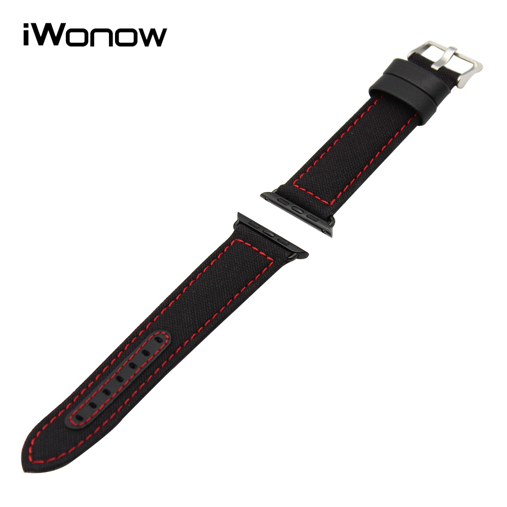 Canvas Genuine Leather Watchband for 38mm 42mm iWatch Apple Watch Sport Edittion Band Wrist Strap Bracelet