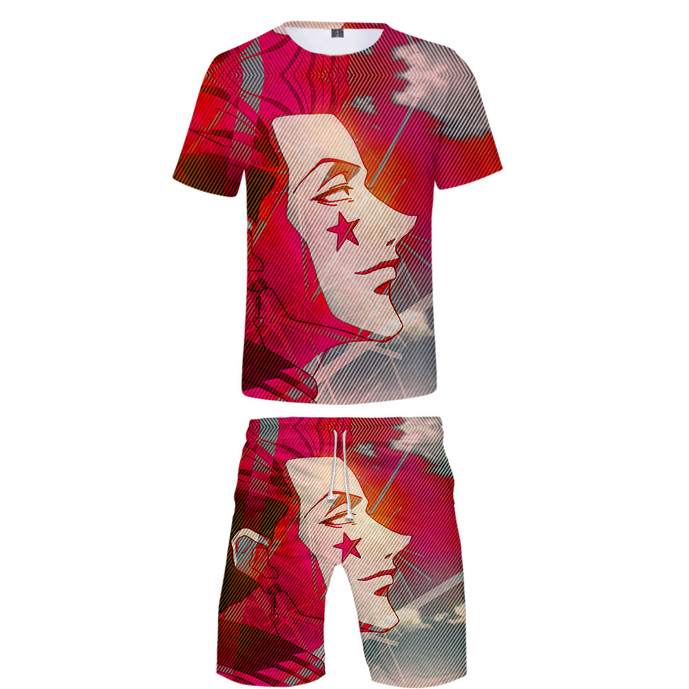 New Men's T-shirt And Shorts Beach Pants Suits Hisoka 3D Print Cartoon Boy/Girl Summer Set Hip Hop Style Hisoka Tshirt