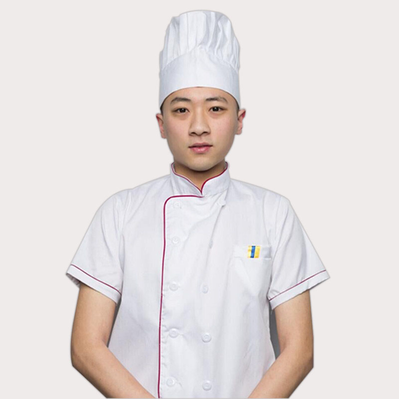 Summer Pastry Chef Clothing Unisex Short Sleeve Kitchen Jacket White Cuisine Chef Uniform Adjustable Hat For Men And Women