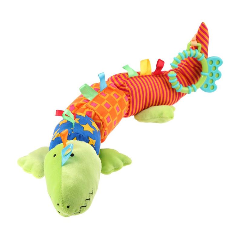 Funny Stickes Design Baby Rattles Toys Plush Baby Soft Crocodile Animal Rattles Sound Bell Baby Development Handle Toys Gifts