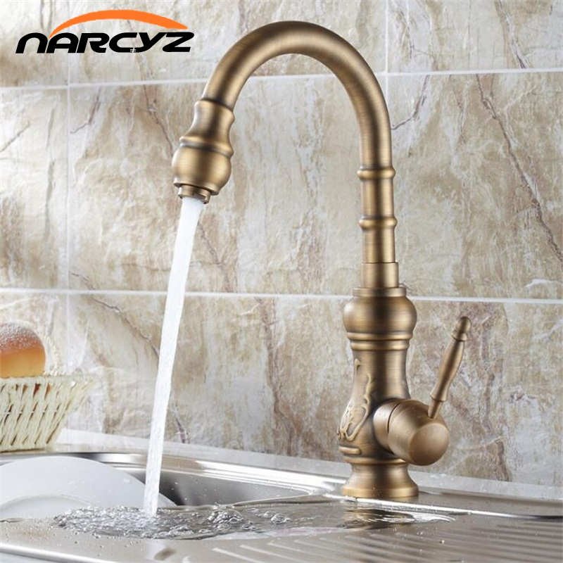 Kitchen Sink Faucets Solid Brass Antique Bronze Single Handle Kitchen Basin Faucets Deck Mounted Hot Cold