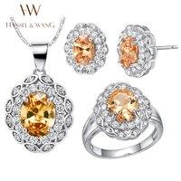 Hansel & Wang 2016 Nova Moda Oval Pétalas Diamantes CZ Anéis para As Mulheres Jóias de Prata Banhado Colar Brincos Set 2JS31