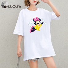 2019 Summer Clothing Women Minnie Mickey Mouse Printed Tops Tee Short Sleeve Loose Cartoon Plus Size T Shirts Casual Cute