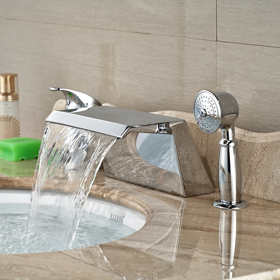 Wholesale And Retail Promotion Widespread Bathroom Tub Faucet Waterfall Chrome Tub Sink Mixer Tap W/ Hand Unit