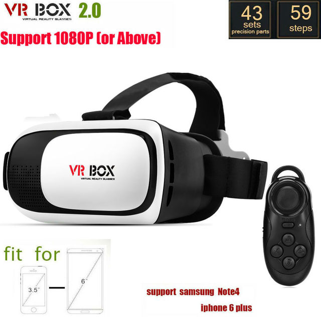 Виртуальная Реальность Стекло Google Картон VR VR BOX II 2.0 Версия 3D Очки для 3.5-6.0 дюймов Смартфон + Контроллер Bluetooth 1.0