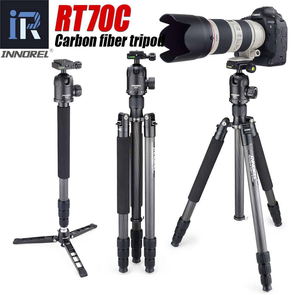 RT70C Carbon Fiber tripod monopod for professional digital dslr camera telephoto lens heavy duty stand tripode Max Height 175cm-in Tripods from Consumer Electronics