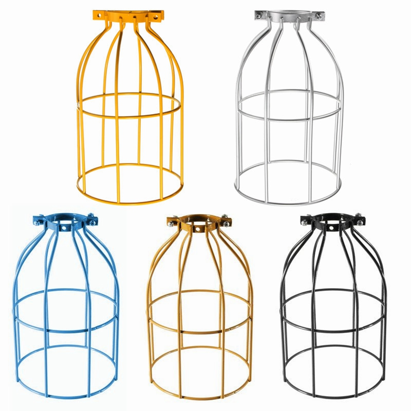 Cage Retro Trouble Light Industrial Pendant Lights For Bar Kaffe Room Top Quality Vintage Steel Bulb Guard Clamp På Metal Lampe