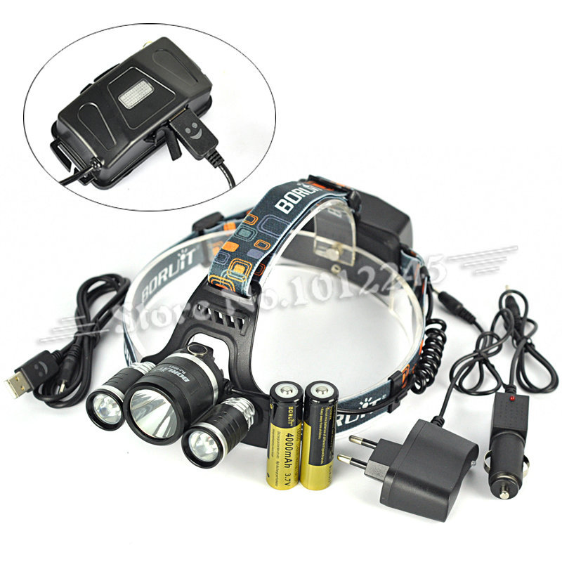 6000LM BORUIT 5001 USB Headlight Head Lamp 3x XM-L L2 LED Lantern Headlamp 18650 Flashlight+Ac&USB&Car Charger+4000mAh Battery original boruit 3x cree xm l xml t6 led 5000luems rechargeable headlamp head light 2x 18650 battery charger car charger