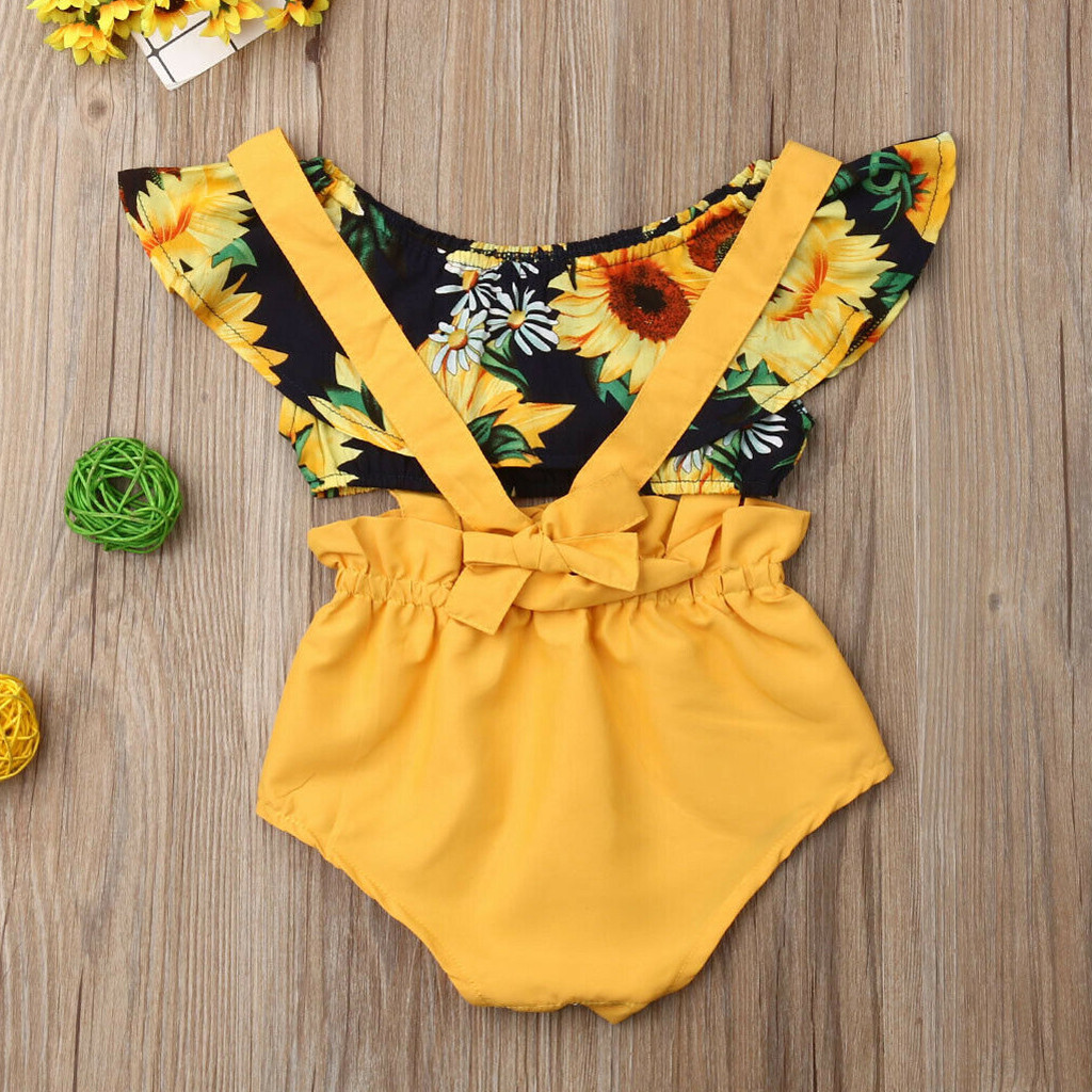 RAINED-Unisex Baby Girl Boy Sunflower Romper Bodysuit 2PC Shorts Clothes Set 2PC Pants Outfits Cotton Kids Pjs Sleepwear