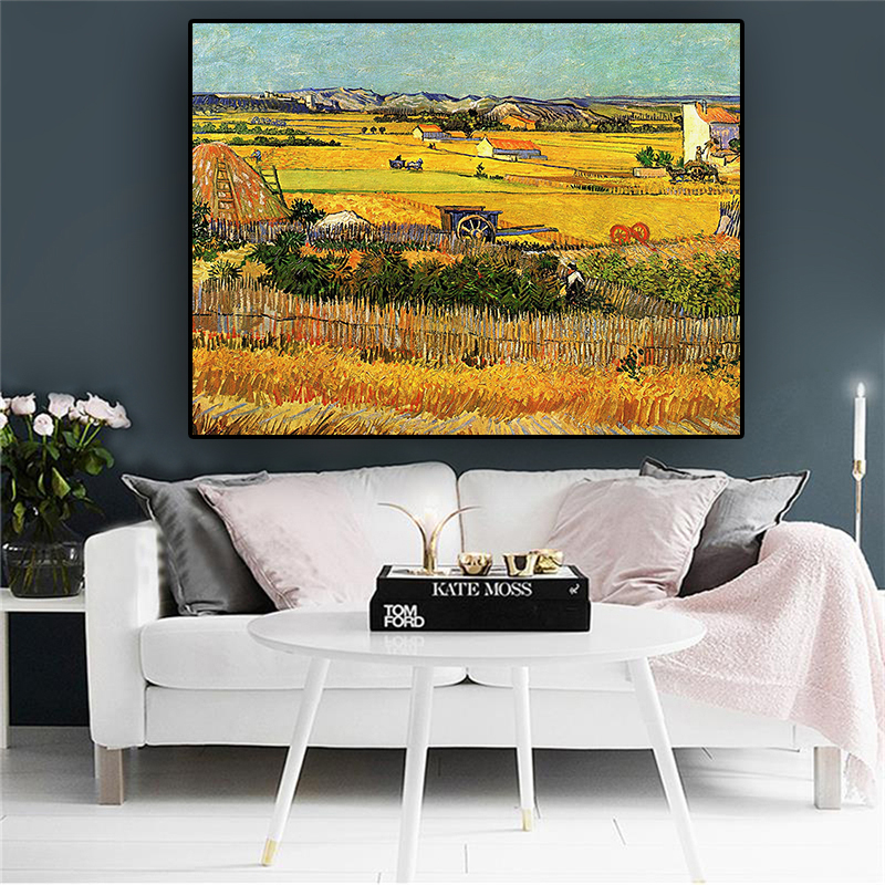 Harvest At La Crau By Van Gogh Landscape Oil Painting Reproductions On Canvas Posters And Prints Wall Picture For Living Room