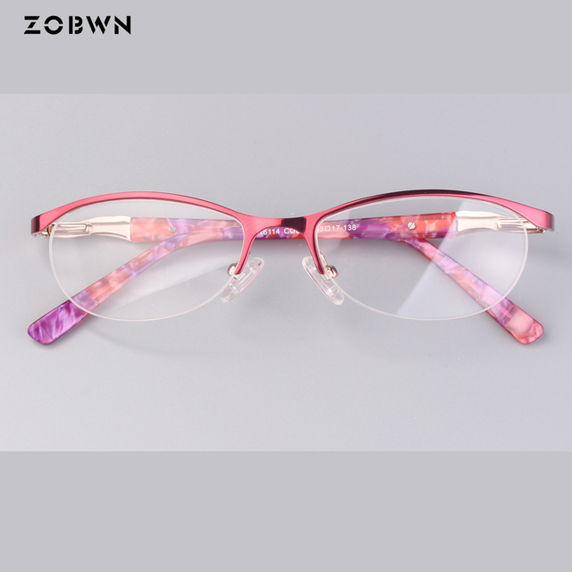 088eec67c ZOBWN Mix samples sale classic half rim oculos de grau feminino glasses  women eyeglasses butterfly shape lens myopia lens gafa
