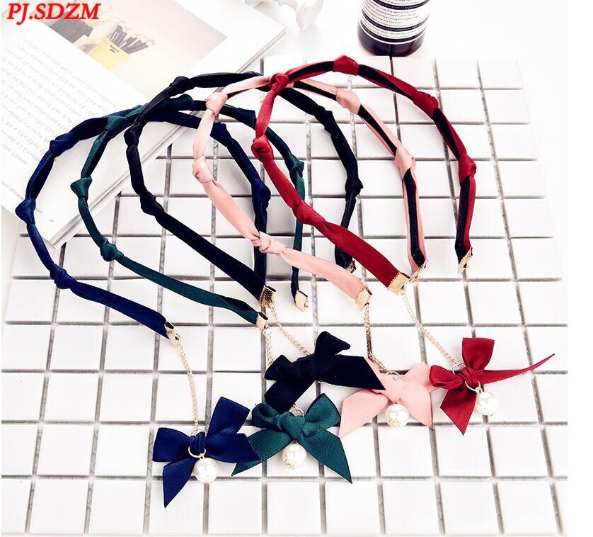 PJ.SDZM 5PCS/LOT Flower Pattern Headwear Double Layer Chiffon Bow Turban Headbands Fashion Hair Accessory Adjustable Length