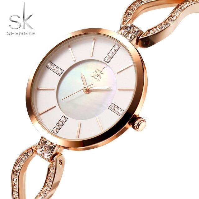 Shengke Luxury Brand Women Watches Diamond Dial Bracelet Wristwatch For Girl Ele