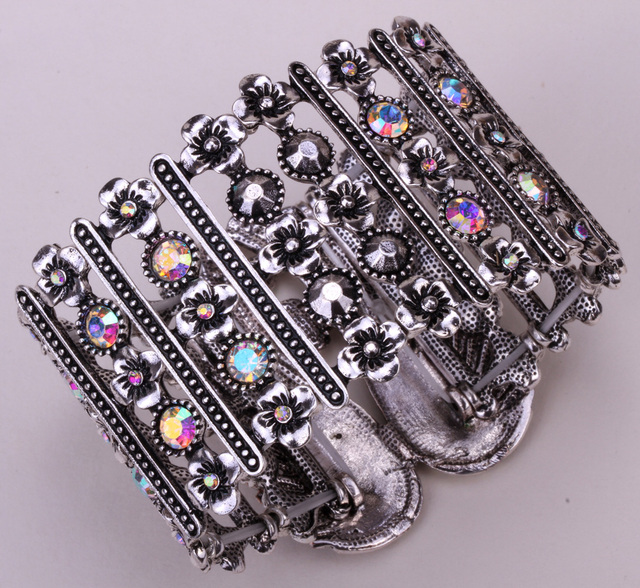 Angel wings stretch cuff bracelet for women biker crystal punk jewelry antique silver plated wholesale dropshipping D05