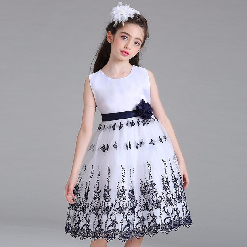 Embroidery Girls Princess Dresses Gaueey Floral Kids Dresses Cotton Elsa Dresses