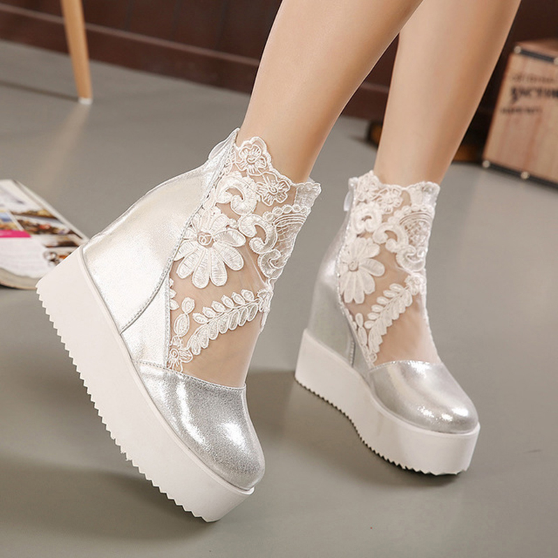 Image 4 - New Wedge Heel Sandals Muffin Platform Raised Non slip Waterproof Thick Round Loop bottomed Shoes Open Toe High Heels WomenWomens Pumps   -
