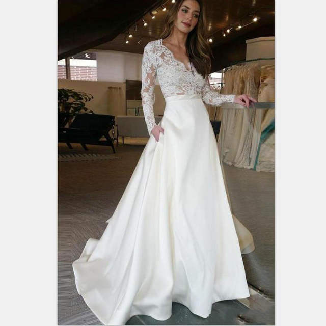 Us 752 53 Offlorie Long Sleeve Wedding Dress V Neck A Line Appliques Lace Top Satin Skirt Wedding Gown With Pocket Custom Made Bride Dress In