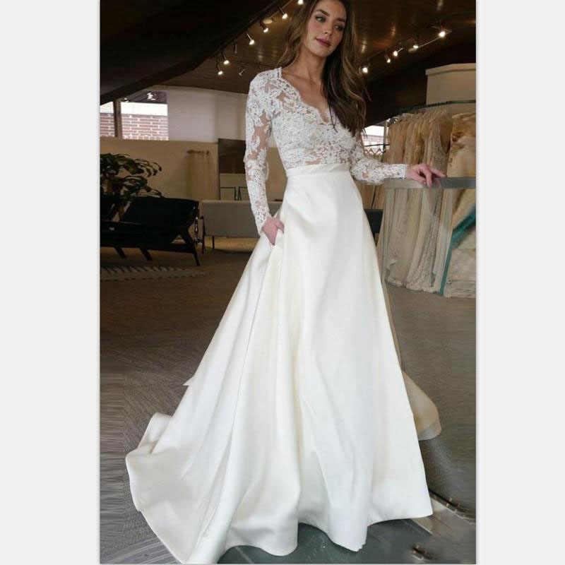 LORIE Manga Longa Do Vestido de Casamento V Neck UMA Linha de Apliques Lace Top de Cetim Saia Do Vestido de Casamento com Bolso Custom Made vestido de noiva