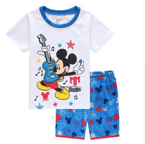 В наличии Пижамный комплект с рисунком из мультика Обувь для девочек Летняя  Пижама короткий рукав Домашняя одежда ночное белье для девочек пижама yw57  ... e261b1ab662ac