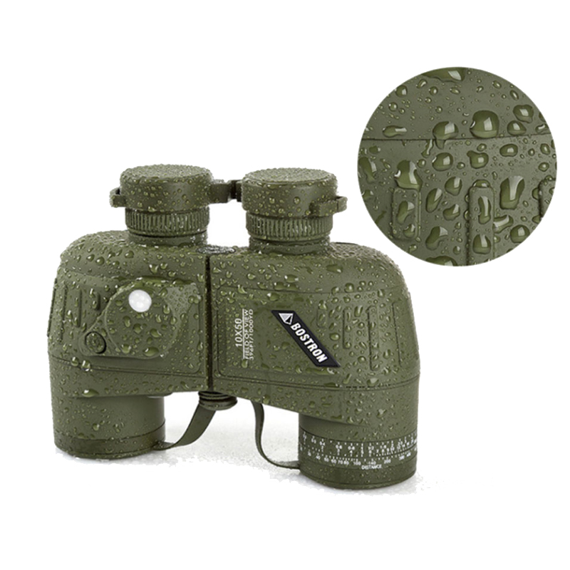 New arrival full covered compass military binoculars 10x50, stabilized rangefinder binoculars for voyage hot sale 10x50 outdoor military binocular army green marine prismatic binoculars hot sale