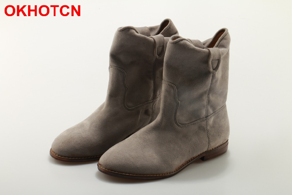 OKHOTCN Women Ankle Boots Suede Autumn Shoes Flat Cow Suede Retro Distressed Biker Boots Women Motorcycle Boots Shoes New Cool