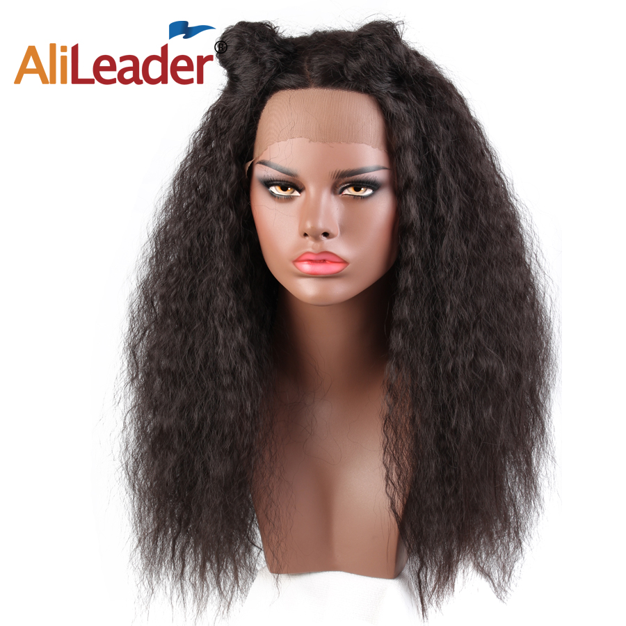 Alileader Natural Long Kinky Straight Wig Afro Puff Yaki Hair Glueless Lace Front Synthetic Wigs for Women
