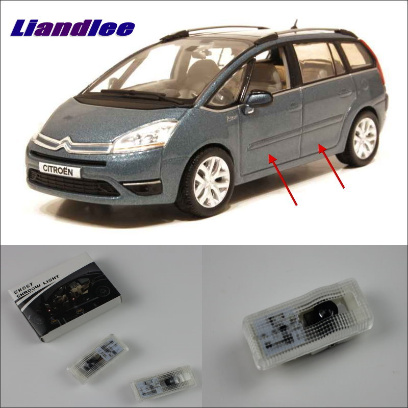Liandlee For Citroen <font><b>C4</b></font> Picasso <font><b>2006</b></font> Door Ghost Shadow Lights Car Brand Logo LED Projector Welcome Light Courtesy Doors Lamp image